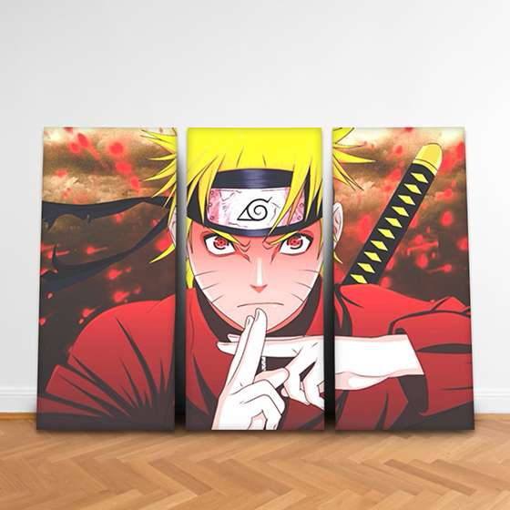Quadro naruto sharingan decorativo