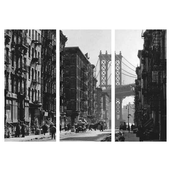Quadro nova york 1920 historico ponte decorativo