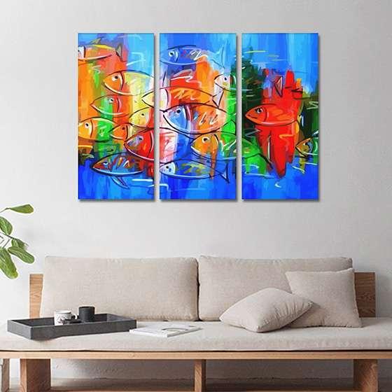Quadro peixes coloridos pintura abstrata