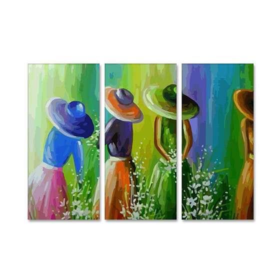 Quadro pintura abstrata camponesas decorativo