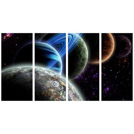 Quadro planetas alinhados espaço para decorar