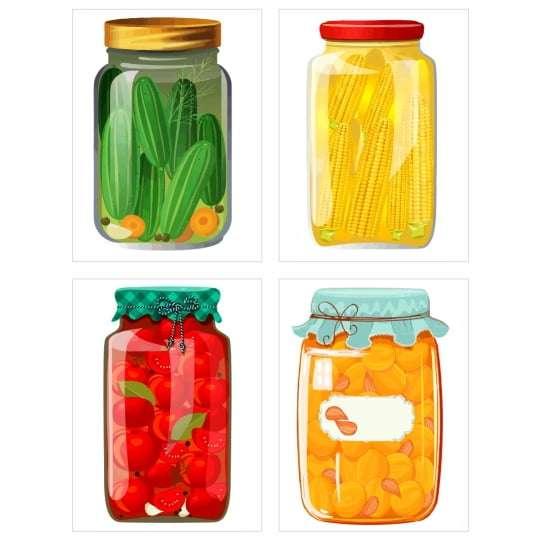 Quadro potes legumes decorativo