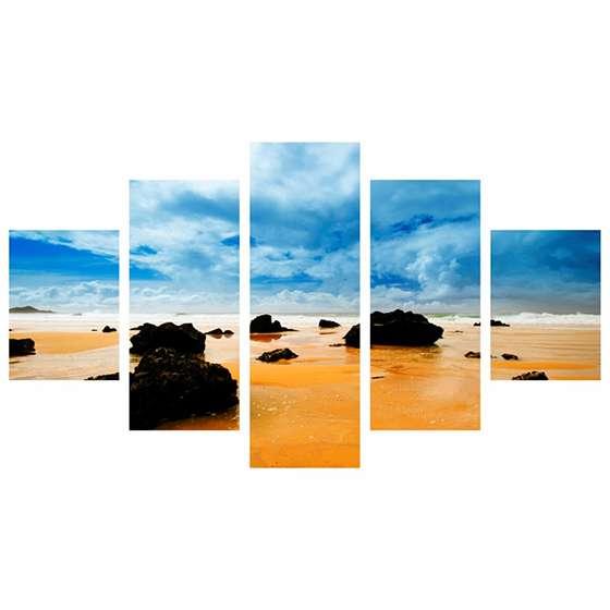 Quadro praia areia rochas mar decorativo