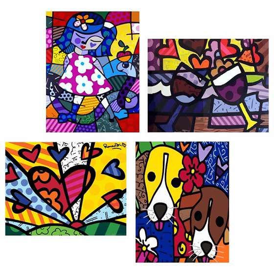 Quadro Romero Britto Decorativo Heart Releitura