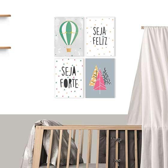 Quadro Infantil Seja Feliz Seja Forte Frase Decorativa