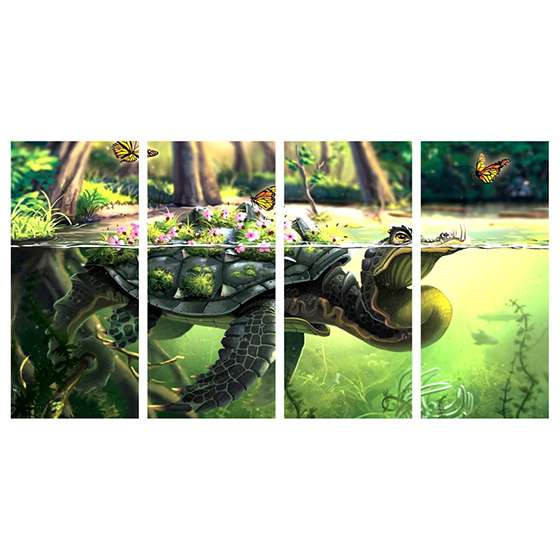 Quadro tartaruga borboletas lago para decorar