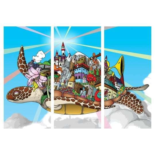 Quadro Tartaruga Mundo Psicodélico Decorativo