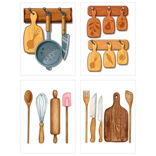 Quadro utensílios de cozinha decorativo