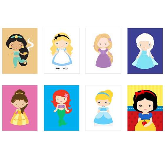 Quadros das princesas disney decorativo
