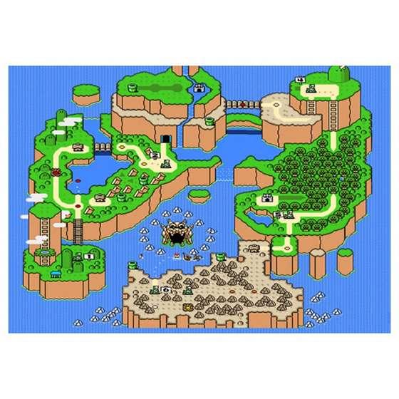 Quadro Mapa Jogo Super Mario Para Decorar