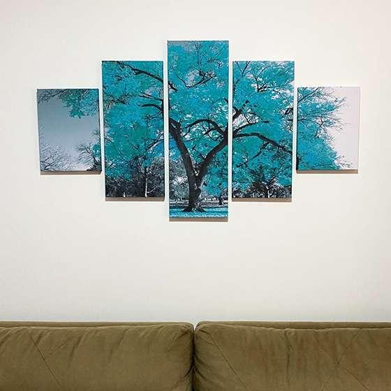 Quadro Árvore Azul Turquesa