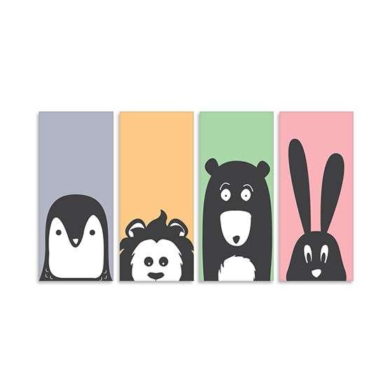 Quadro Infantil Animais Pinguin Leao Urso Coelho Decorativos
