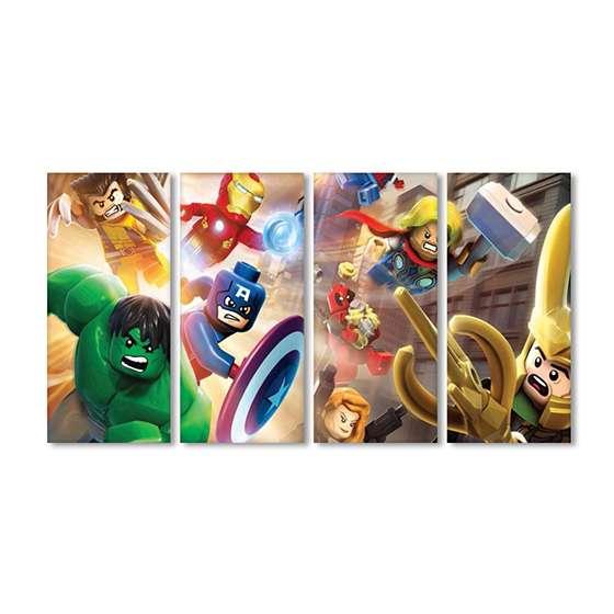 Quadro infantil lego marvel super heroi
