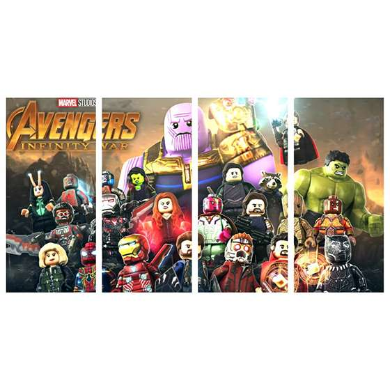 Quadro infantil marvel lego vingadores super heroi