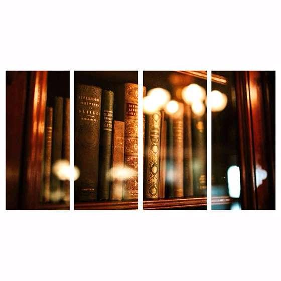 Quadro livros na estante para decorar