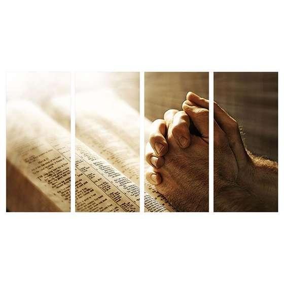 Quadro Religioso Oração e Biblia para decorar