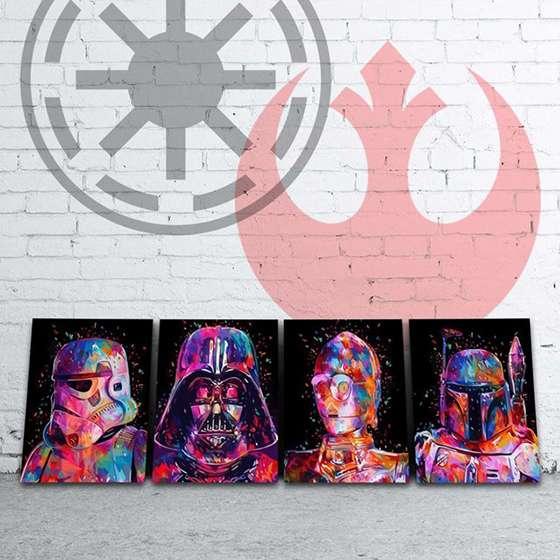 Quadro Star Wars colorido