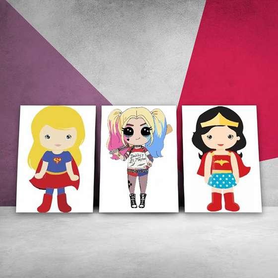 Quadros Super Heroínas infantil decoraçao