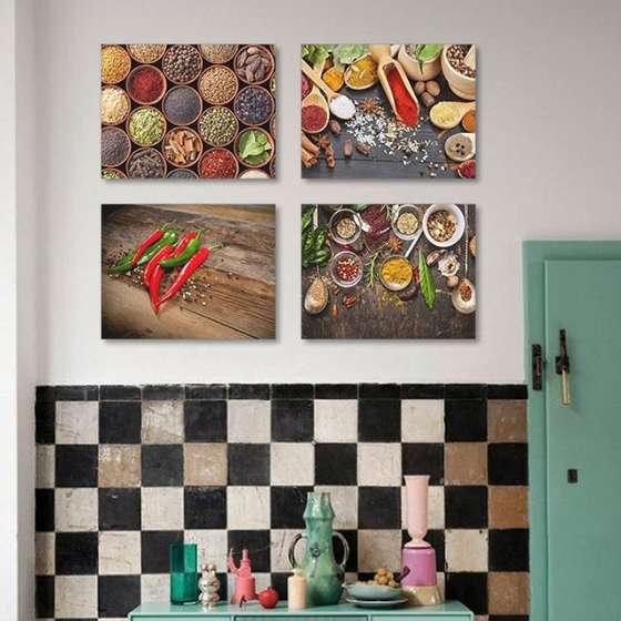 Quadro Temperos Cozinha Decorativo kit 4 unidades