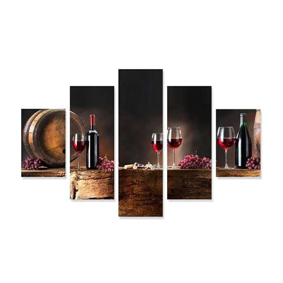 Quadro Vinho Taça Barril Uvas decorativo