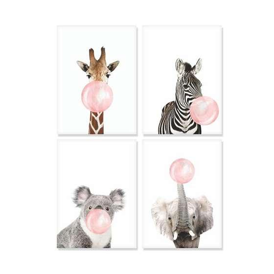 Quadros chiclete girafa zebra