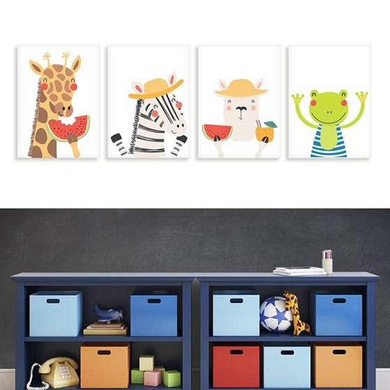 Quadros Infantis Zoo Engraçados Animais 4 peças