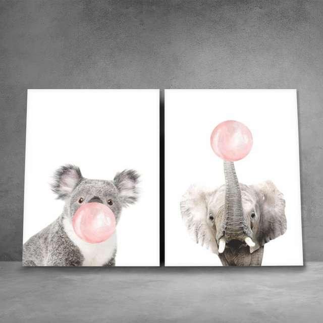 Quadros Elefante Coala Mascando Chiclete Bubble Gum Kit 2 Peças